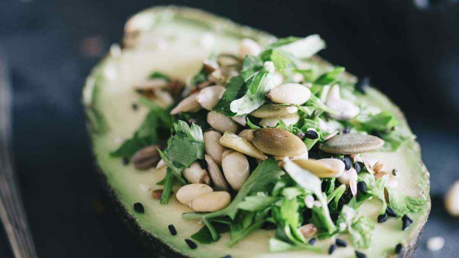 Vegan Avocado Filled With Parsley Salad