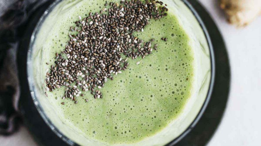 Vegan Chia Seed Ginger Green Smoothie