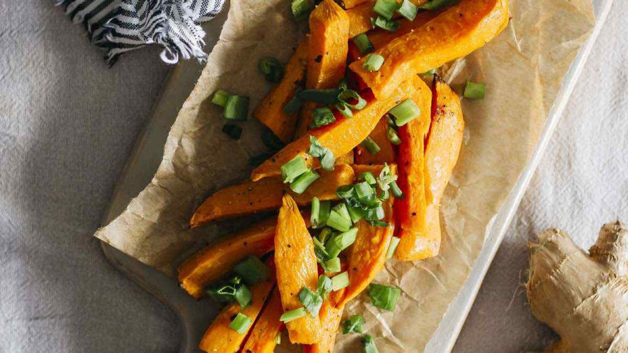 Vegan Gingered Sweet Potato Wedges With Green Onion