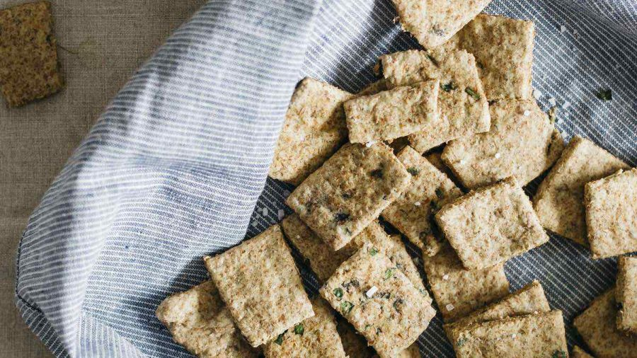 Vegan Herbed Buckwheat Flax Crackers