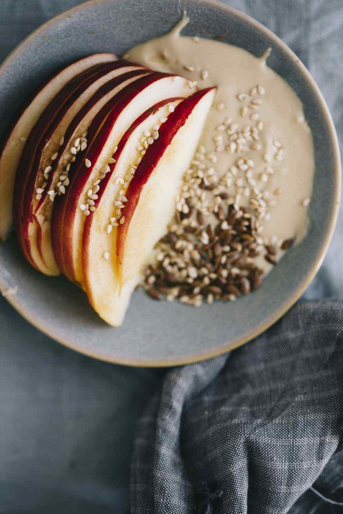 Vegan Spiced Cashew And Tahini Cream With Apples